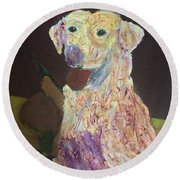 Round Beach Towel featuring the painting Hunting Dog by Donald J Ryker III