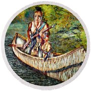 Round Beach Towel featuring the digital art Hunting For Food by Pennie McCracken