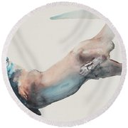 Hunting In The Deep Round Beach Towel by Mark Adlington