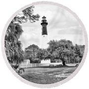 Hunting Island Lighthouse Round Beach Towel