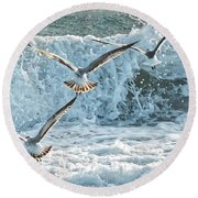 Hunting The Waves Round Beach Towel by Don Durfee