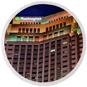 Round Beach Towel featuring the photograph Huntington Bank Cleveland by Frozen in Time Fine Art Photography