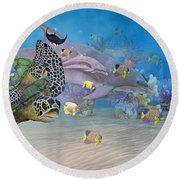 Huntington Beach Imaginative  Round Beach Towel by Betsy Knapp