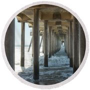 Round Beach Towel featuring the photograph Huntington Beach Pier From Below by Ana V Ramirez