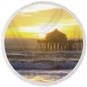 Huntington Peir 2 Round Beach Towel