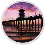 Huntington Pier At Sunset 2 Round Beach Towel