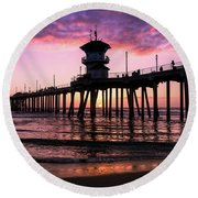 Huntington Pier At Sunset 2 Round Beach Towel