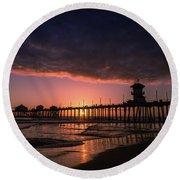 Huntington Pier At Sunset Round Beach Towel