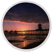Huntington Pier At Sunset Round Beach Towel