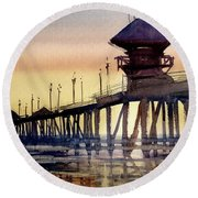 Round Beach Towel featuring the painting Huntington Pier by Sandra Strohschein