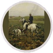 Huntsman With Hounds Round Beach Towel