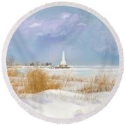 Huron Lighthouse Round Beach Towel by Mary Timman