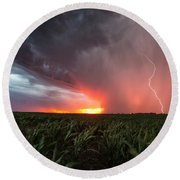 Round Beach Towel featuring the photograph Huron Lightning  by Aaron J Groen