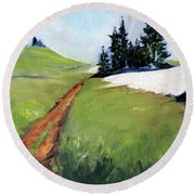 Round Beach Towel featuring the painting Hurricane Hill by Nancy Merkle