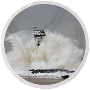 Hurricane Jose Wave At The Inlet Jetty Round Beach Towel