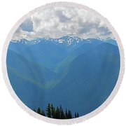 Round Beach Towel featuring the photograph Hurricane Ridge Panoramic by Tikvah's Hope
