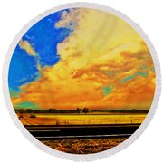 Hurry Sundown Round Beach Towel