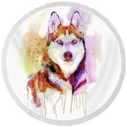 Husky Dog Watercolor Portrait Round Beach Towel