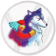Husky Love Round Beach Towel