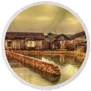 Round Beach Towel featuring the photograph Huts 2 by Charuhas Images