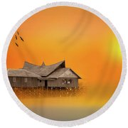Huts Round Beach Towel by Charuhas Images