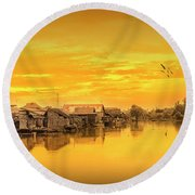 Round Beach Towel featuring the photograph Huts Yellow by Charuhas Images
