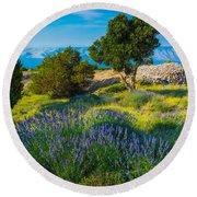 Hvar Lavender Field Round Beach Towel