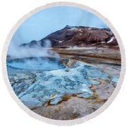 Hverir Steam Vents In Iceland Round Beach Towel by Joe Belanger