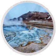Hverir Steam Vents In Iceland Round Beach Towel