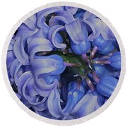 Hyacinth Curls Round Beach Towel by Lynda Lehmann
