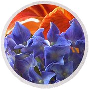 Hyacinth With Flames Round Beach Towel