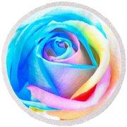 Rainbow Rose Round Beach Towel
