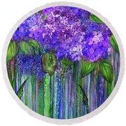 Round Beach Towel featuring the mixed media Hydrangea Bloomies 1 - Purple by Carol Cavalaris