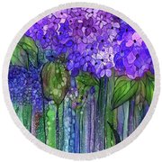 Round Beach Towel featuring the mixed media Hydrangea Bloomies 2 - Purple by Carol Cavalaris