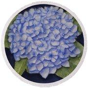 Hydrangea Flower With Blue Background Round Beach Towel