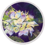 Round Beach Towel featuring the pastel Hydrangea by Rebecca Matthews