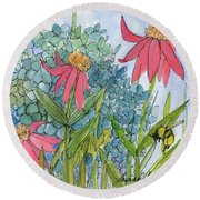 Hydrangea With Bee Round Beach Towel