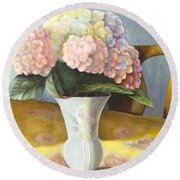 Round Beach Towel featuring the painting Hydrangeas by Marlene Book