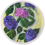 Round Beach Towel featuring the painting Hydrangeas by Randol Burns