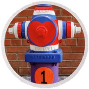 Round Beach Towel featuring the photograph Hydrant Number One by James Eddy