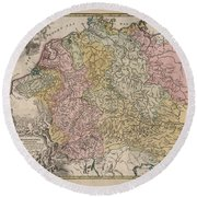 Hydrographia Germania - The Rivers Of Germany - Antique Geographical Map - Historic Map Round Beach Towel