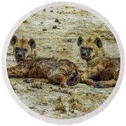 Hyenas In The Serengeti Round Beach Towel