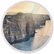 Hymn Of The Cliffs Round Beach Towel