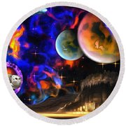 Hyperactivity Sector X66 In The Andromeda Gallaxy Round Beach Towel