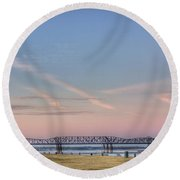 I-55 Bridge Over The Mississippi Round Beach Towel
