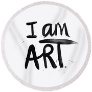 I Am Art Black Ink - Art By Linda Woods Round Beach Towel
