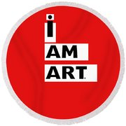 I Am Art Stripes- Design By Linda Woods Round Beach Towel