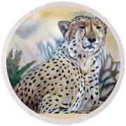 I Am Cheetah 2 Round Beach Towel by Marilyn  McNish