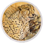 I Am Cheetah Round Beach Towel by Marilyn  McNish