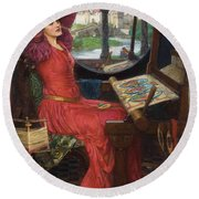 Round Beach Towel featuring the painting I Am Half-sick Of Shadows, Said The Lady Of Shalott by John William Waterhouse